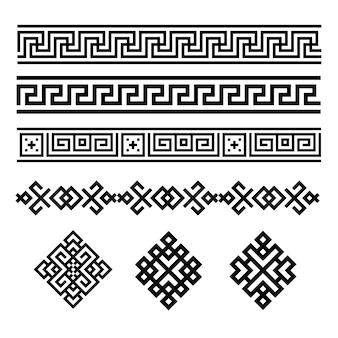 A set of black and white geometric designs