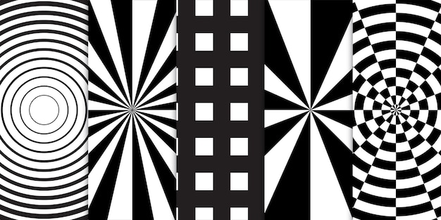 Set of black and white geometric shapes and spiral optical illusion seamless pattern