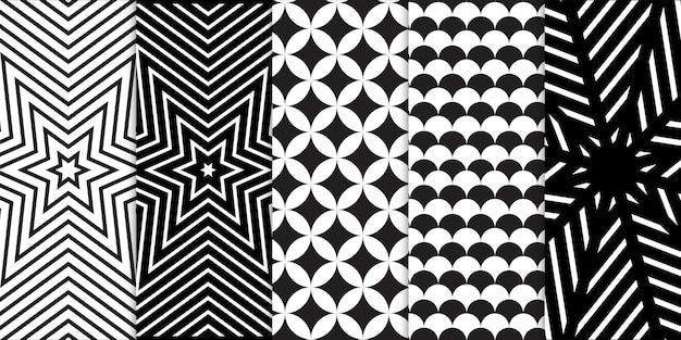 Set of black and white geometric shapes and spiral or wave optical illusion seamless pattern