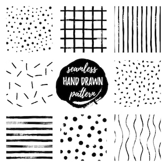 Set black and white hand draw vector seamless patterns strip, grid, polka dot. endless textures in monochrome. scandinavian simple style. stylish trendy backgrounds design for fabric, wallpaper