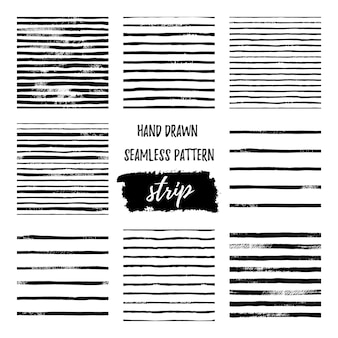 Set black and white hand draw vector seamless patterns stripe line. endless textures in monochrome. scandinavian simple style. stylish trendy backgrounds of simple primitive scratchy textures, stripes