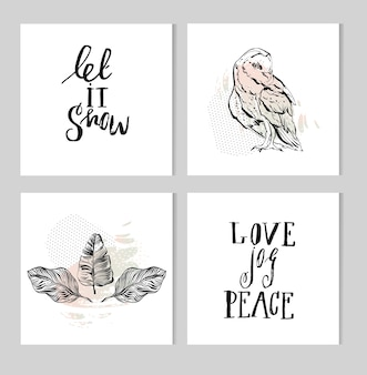 Set of black and white hand lettering christmas phrase design collection, handmade calligraphy and graphic ink illustration with owl and tropical palm leaves composition in pastel colors.