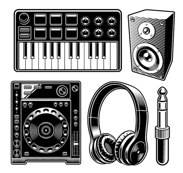 Set of black and white illustration for musical theme