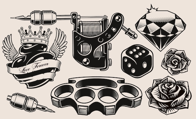 Set of black and white illustration for tattoo theme