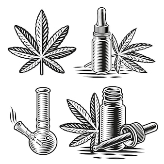 A set of black and white illustrations for cannabis theme in engraving style.