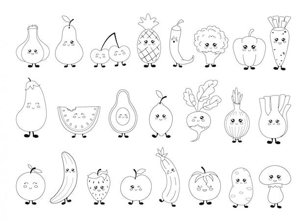 Set of black and white kawaii vegetables and fruits