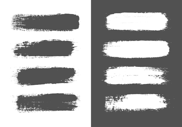 Set of black and white lines ink brush strokes.
