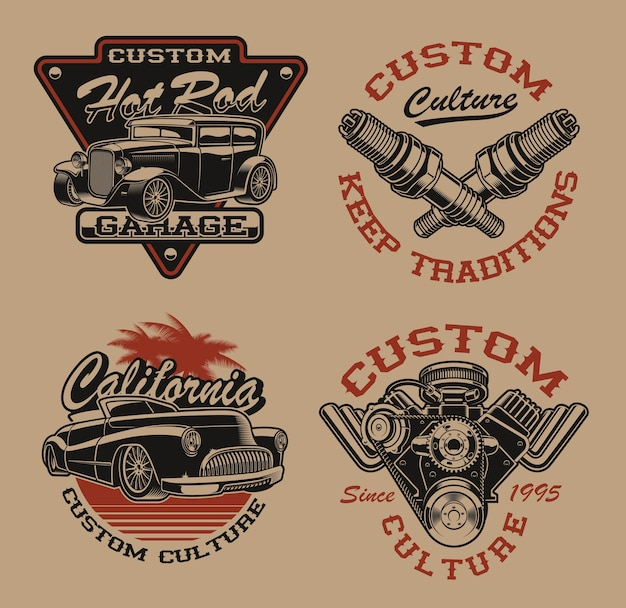 Set of  black and white logos or shirt s in vintage style for transportation theme on the dark background. perfect for posters, apparel, t-shirt design and many other. layered