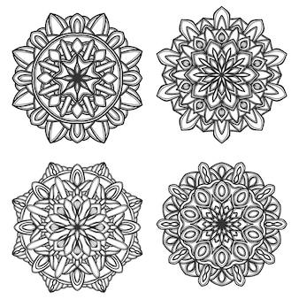 Set of black and white mandala