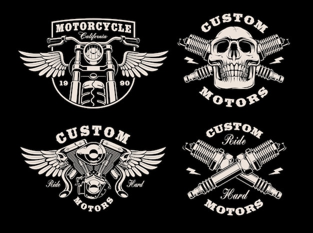 Set of black and white motorcycle emblems on dark