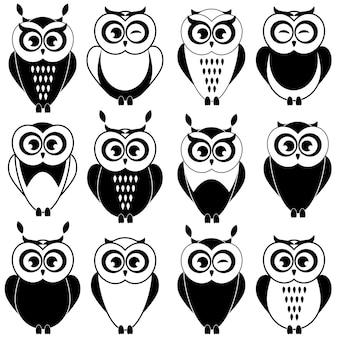 Set of black and white owls on white