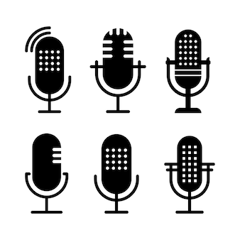 Set of black and white radio icon illustrations