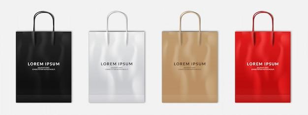 Set of black, white, red, brown paper shopping bag