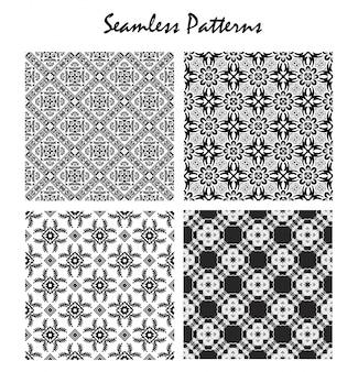 Set black and white seamless pattern