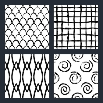 Set of black and white seamless patterns with marker scandinavian style