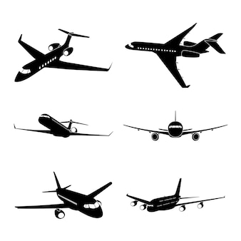 Set of black and white silhouette icons of civilian airplanes