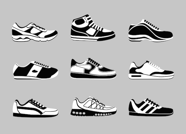 Set of black and white sneakers