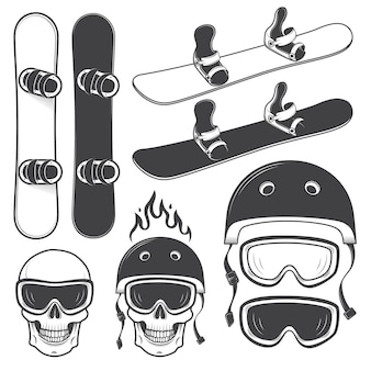 Set of black and white snowbords and designed snowboarding elements. extreme theme, winter sport, outdoors adventure.