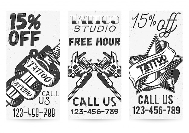 Set of black and white templates for tattoo
