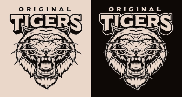 Set of black and white tiger head logos