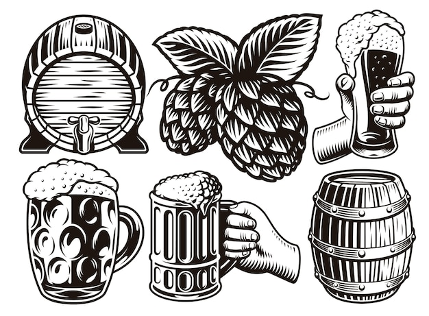 Set of black and white vintage beer illustrations in engraving style