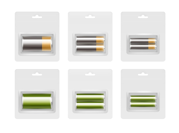 Set of black yellow golden green glossy alkaline aa, aaa, c batteries in transparent blister packed close up isolated
