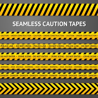 Set of black and yellow seamless caution tapes with different signs. police line, crime scene, high voltage, do not cross, under construction etc.