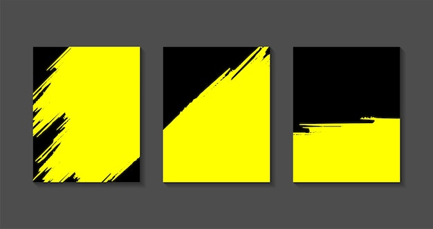 Set of black yellow  templates