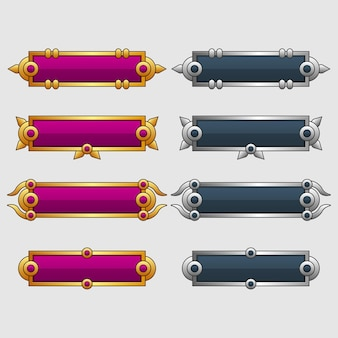 Set of blank banner or box use on game design illustration