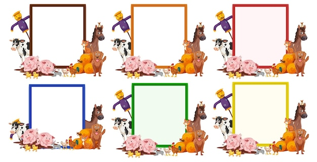 Set of blank banner in different color with farm animals isolated