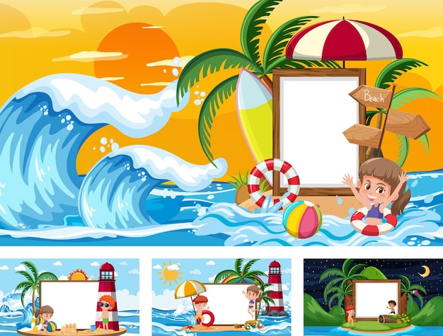 Set of blank banner in different tropical beach scenes