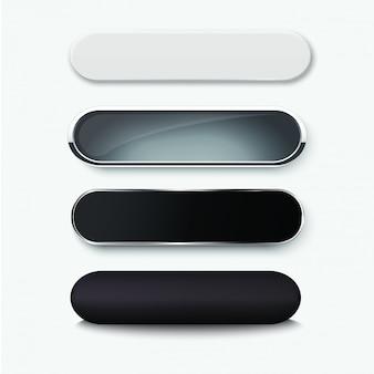 Set of blank black buttons for website