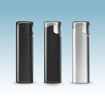 Set of blank black plastic metal lighters close up