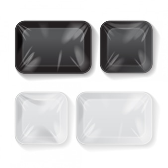 Set of blank black and white styrofoam plastic food tray container.   template