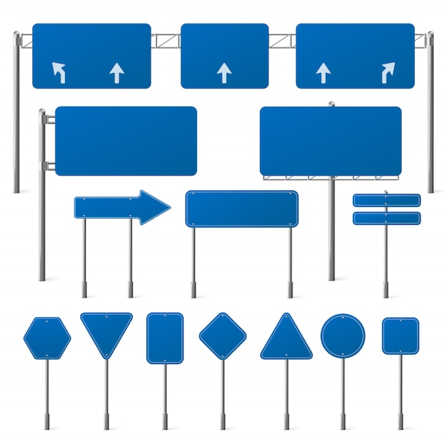 Set of blank blue road signs