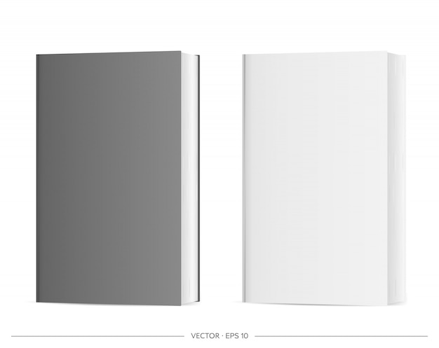 Set of blank books. black and white realistic book isolated on a white background. illustration.