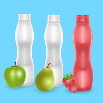 Set of blank bottles for milk or drinking yogurt with different fruit flavors
