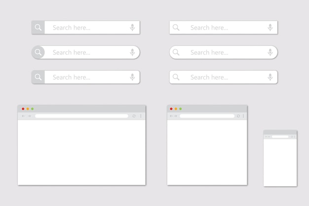 Set of blank browser windows for different devices and search bar