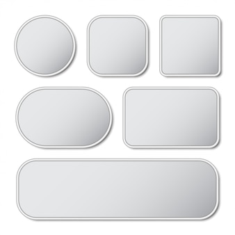 Set of blank button with metal frame