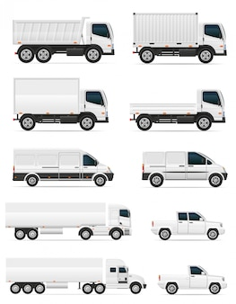 Set of blank cars and truck for transportation cargo vector illustration