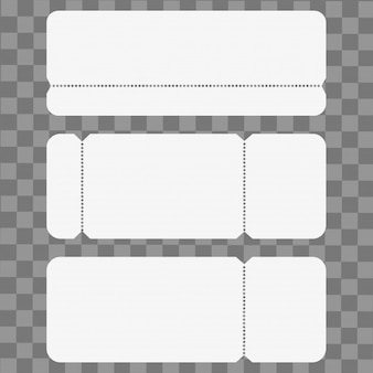 Set of blank cinema ticket