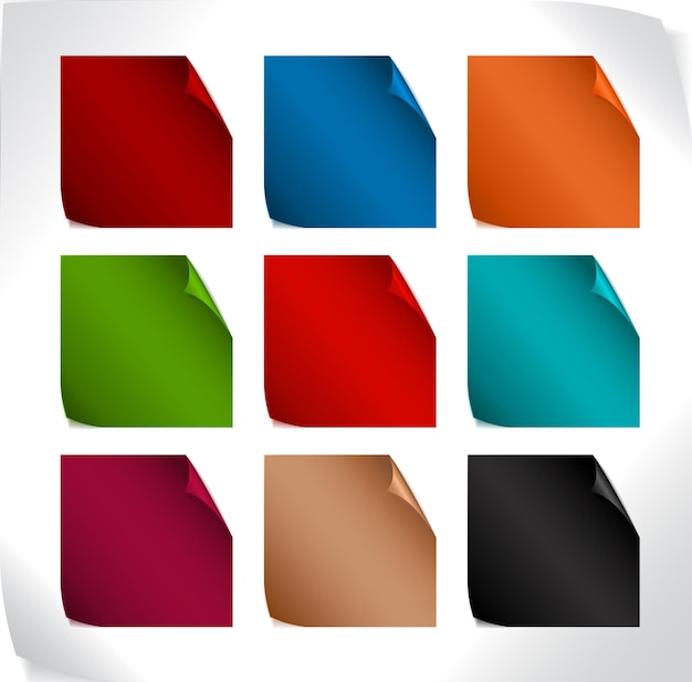 Set of blank color paper stickers with rounded corners (vector)