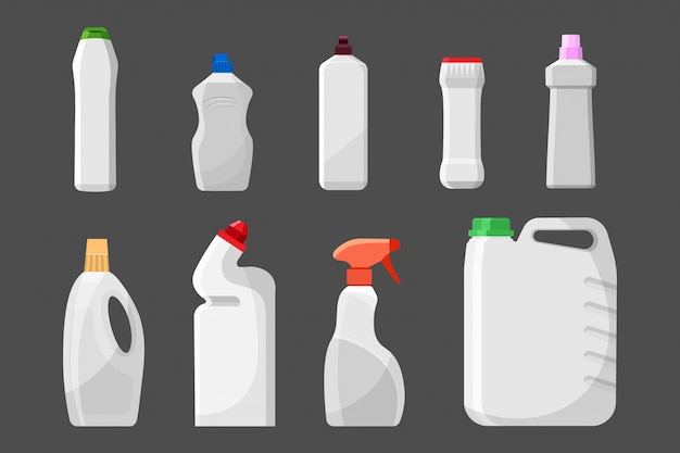 Set of blank detergent bottles or containers, cleaning supplies, washing powder.