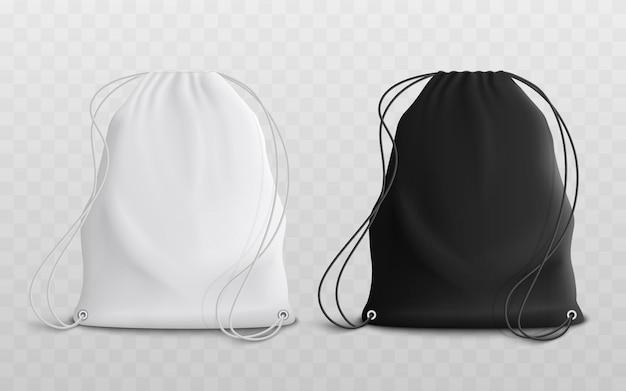 Set of blank drawstring bags mockup d realistic illustration