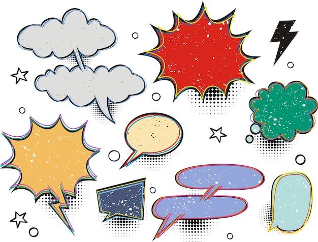 Set of blank effects template comic speech bubbles halftone dot background style pop art