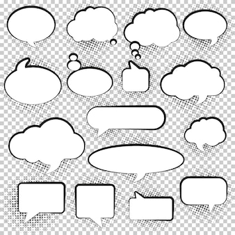 Set of blank empty white speech bubbles.