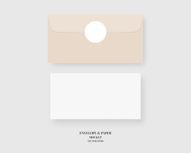 Set of blank envelope and paper