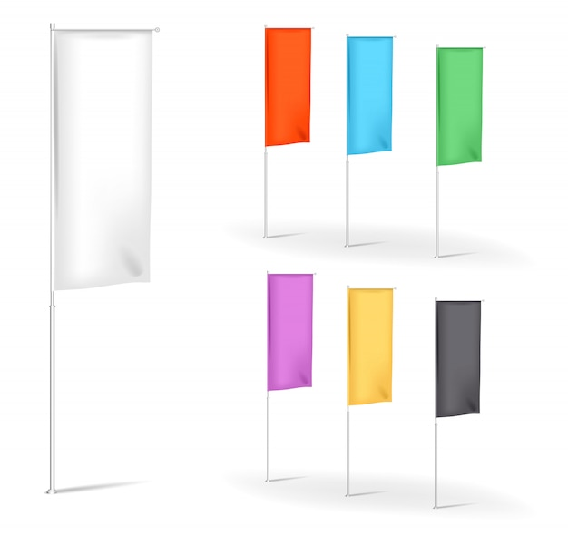 Set of blank flags advertisement banner banner with folds multicolored,  illustration templates