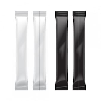 Set of blank foil bag packaging for food, sugar, salt, pepper, seasoning,  plastic pack