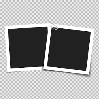 Set of blank frames on a background with transparent shadows. vector illustration.